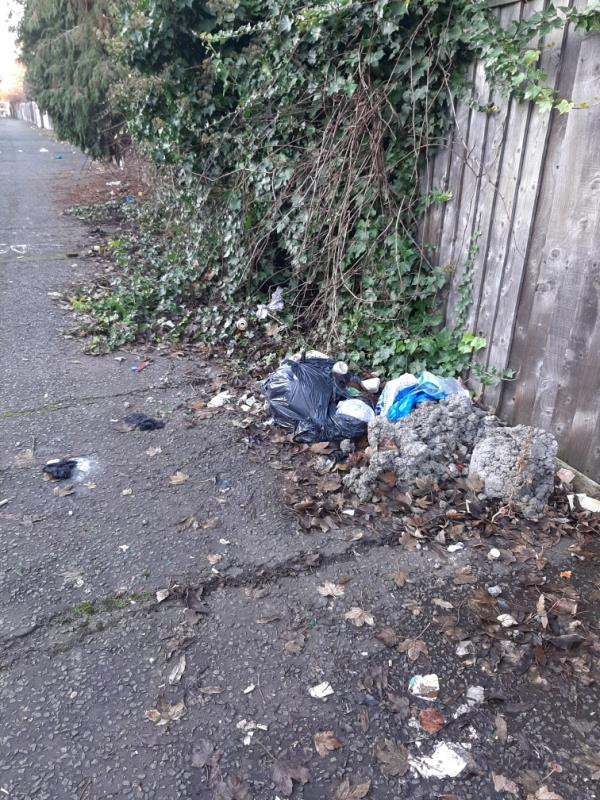 black bag of household waste was here from Friday 29th of November still in location on sweep day in carbuncle passsge -109 Rosebery Avenue, London, N17 9SH