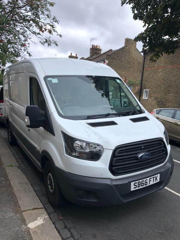 Large van dumped without a permit in a 20 minute bay for over 1 week. Obstructing access to homes and young families as well as workmen who require urgent access. -99 New City Road, Plaistow, E13 9NP
