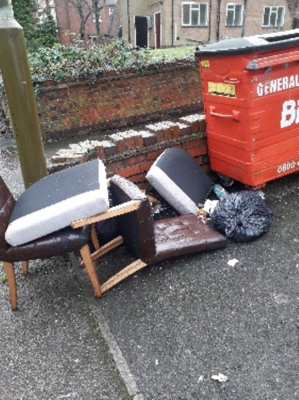 selection of chairs flytipped-Ashleigh Court Stoneygate Road, Leicester, LE2 2AL