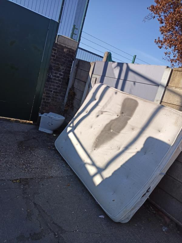 Old mattress, bed and For Sale sign, been there at least a fortnight. Bottom of bridge stairs. -1 Shakespeare Crescent, Manor Park, E12 6SF