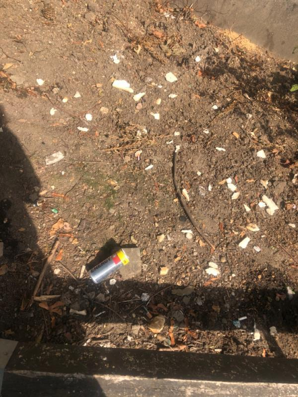 White sliced bread scattered on soil, 39p energy drink can.-15 Aldworth Road, London, E15 4DN