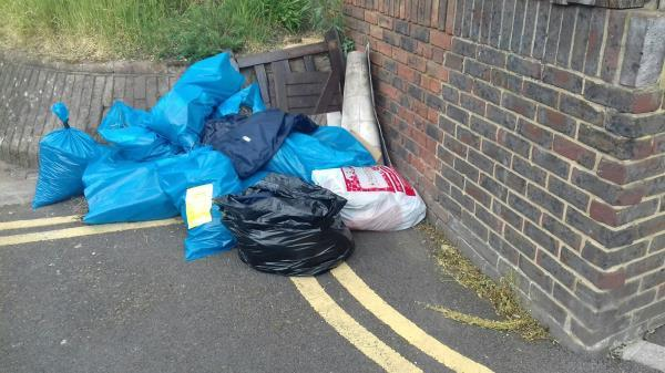 Several bags of wastes, pieces of wood and pieces of carpets dumped near 40 Mafeking Road E16 -39 Mafeking Road, Canning Town, E16 4NS