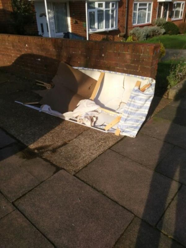 kier JS NFZONE2EBC on 12.02.19 at 9.30  please remove fly tipped items from highway. thanks Jordan -20 Bodiam Crescent, Eastbourne, BN22 9