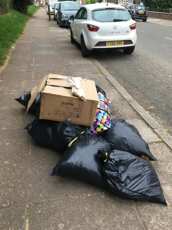 Rubbish dumped on the pavement. -130-132 Highcross Street, Leicester, LE1 4PH