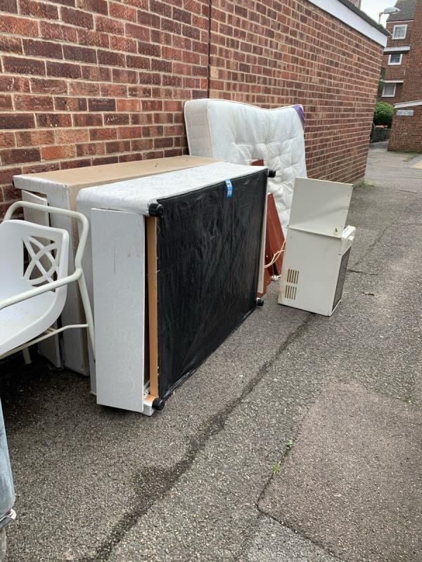 Mattress and base of bed all dumped against the wall needs Removing -1 Grant Street, Plaistow, E13 0ET