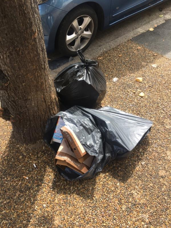 household waste dumped by tree (again!)-21 Streatfeild Avenue, East Ham, E6 2JZ