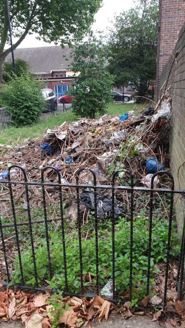 This rubbish and garden waste has been thrown over from the council flats next door. I spoke to them about it and then said that the caretaker told them to throw it over and it will be collected. -1 Simons Walk, London, E15 1QE