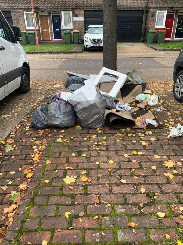 Rubbish dumped outside hones-20 Hoskin's Close, Canning Town, E16 3RH