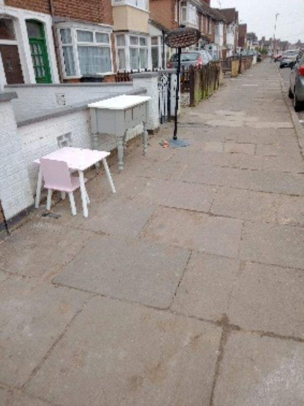 unwanted items on footpath outside 8 Barton road-8 Barton Road, Leicester, LE3 9BB