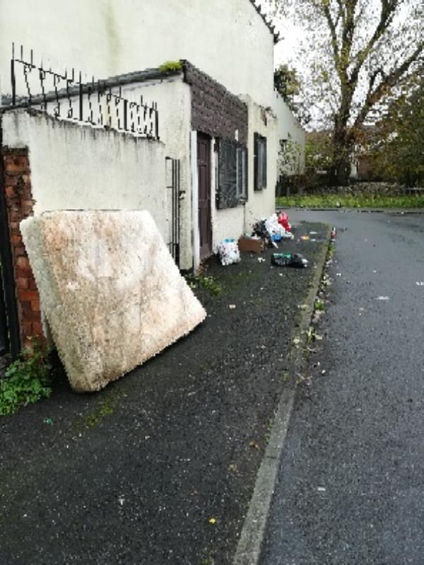 Byrne Road onto Napier Road - fly tipped mattress, bags of general waste-80 Byrne Road, Wolverhampton, WV2 3DW