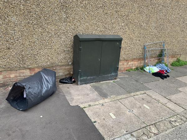 Rubbish dumped on Edith road. A black bag containing a duvet, an clothes dryer and other items.  -115 Colegrave Rd, London E15 1EA, UK
