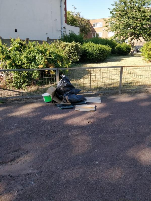 fly tipping paint, wood and various rubbish -48 Wellington Road, London, E7 9BY