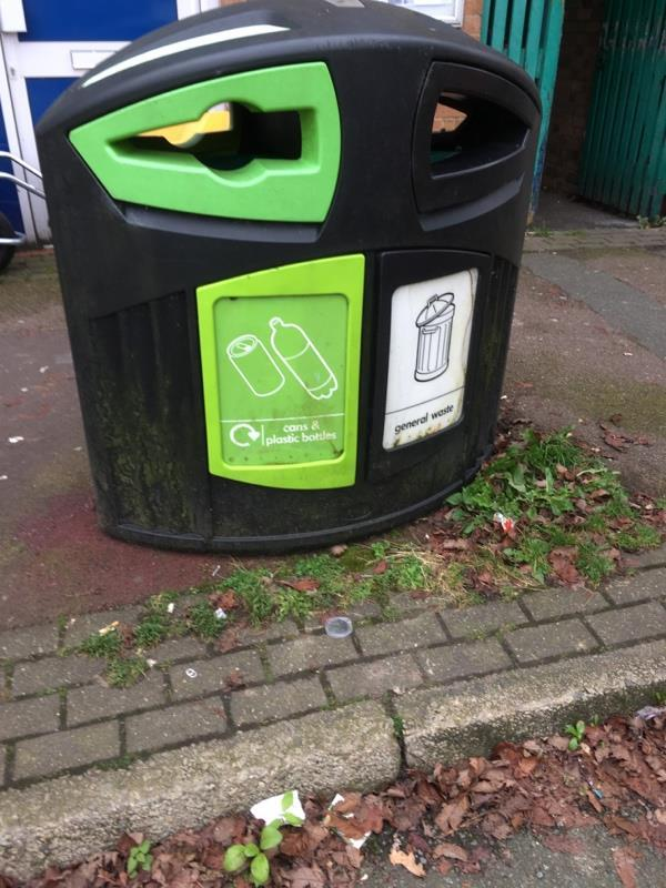 Bin knocked over by car. Has been picked up but the fastenings are no longer there so it is free standing -9a Lime Avenue, Weaverham, CW8 3DE