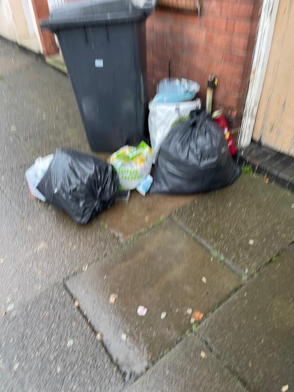 Bags of rubbish in the street.  Same for the neighbours too. -19 Tyrrell Street, Leicester, LE3 5SB