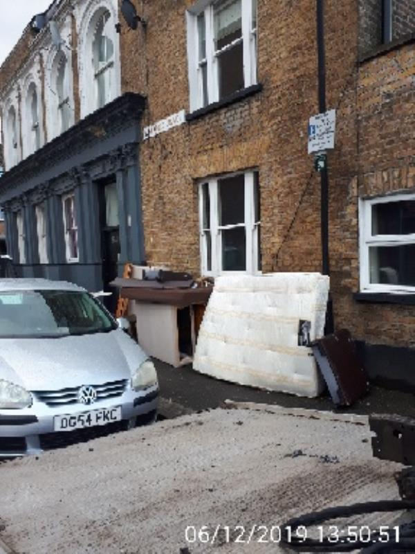 household furniture dump outside 159 (Somerford Grove)-165 Park Lane, London, N17 0HJ