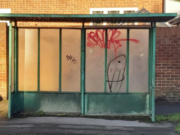 Bus shelter sprayed as per attached picture.-6 Chapel Lane, Farnborough, GU14 9BE