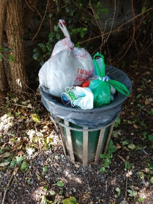 Balmore walk bin by surgery entrance full again-61 Hemdean Road, Reading, RG4 7SS