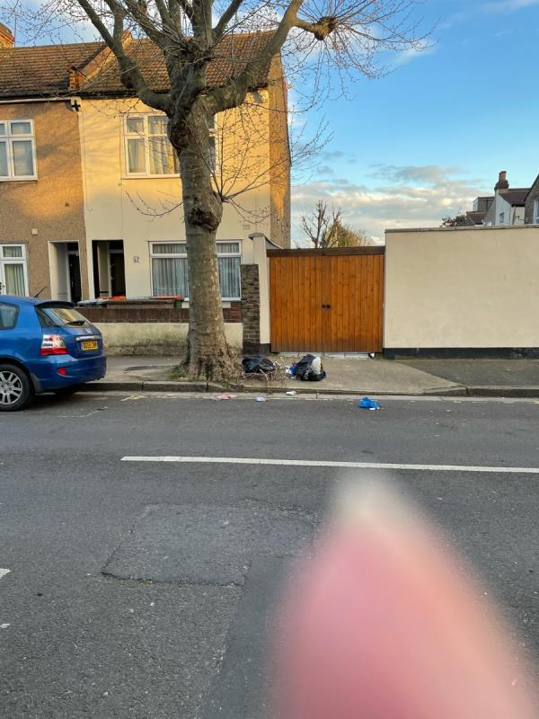 Rubbish disposed outside 57 Wilson Road under the tree-55 Wilson Road, Plaistow, E6 3EF