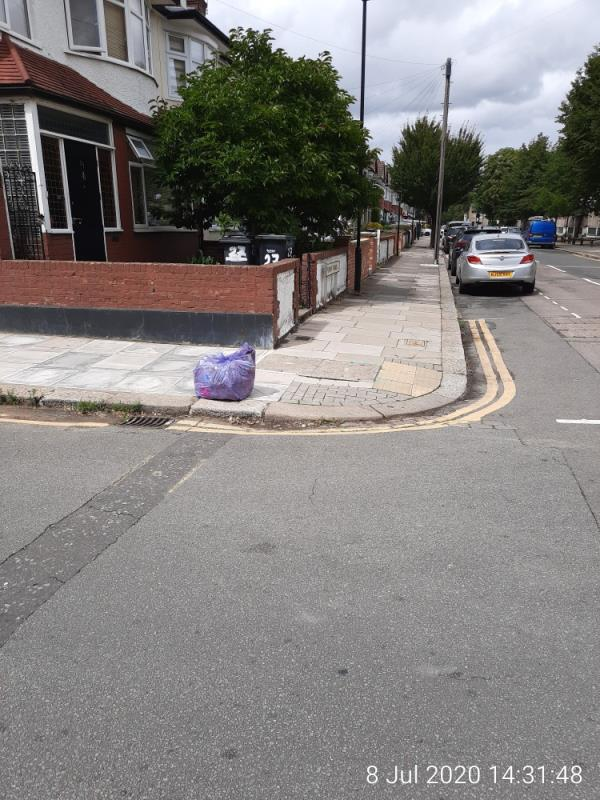 Purple cleaner bag - corner of Pembury Rd, close to Kenmare Drive-27 Pembury Road, Tottenham, N17 6SS