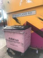 It's on Maryland Road junction to the Leytonstone Road. Both pictures has its location mentioned. It's every week popular fly tipping/dumping area. Big commercial metal bin on the pavement obstructing pedestrians. Please take due care of it. Many thanks -9 Maryland Rd, London E15 1JJ, UK