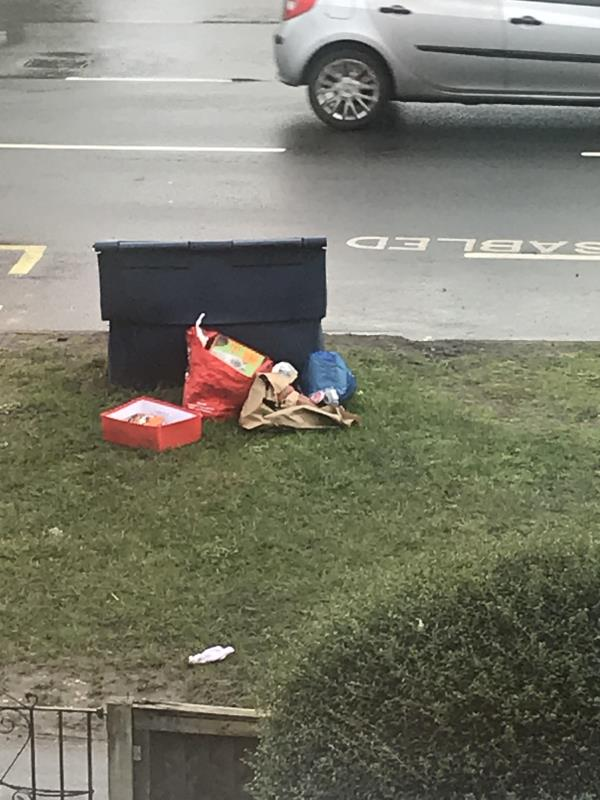 There is some rubbish that has been dumped beside a bin on the street. I believe it may be related to my neighbour, who appears to dump rubbish all over their property. -271 Fernhill Road, Farnborough, GU14 9EP
