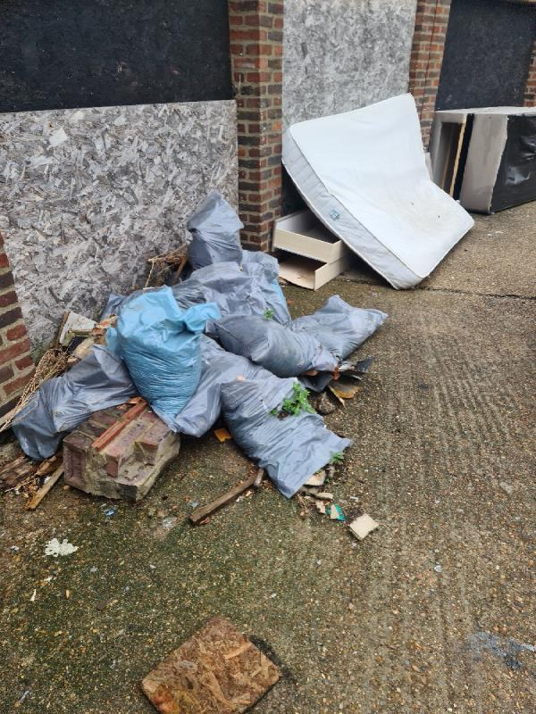 lots off fly tipping at scott and willits house plaistow in the back off the carpark -16 Pelly Road, Plaistow, E13 0LH
