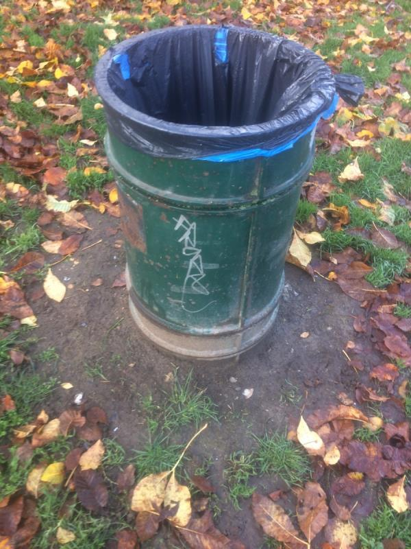 Beckenham Place Park Remove graffiti from litter bin at entrance-61 Old Bromley Road, Bromley, BR1 4LE