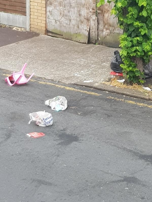 household rubbish thrown onto the road and pavement early hours of this morning again.-35 Washington Avenue, London, E12 5JA