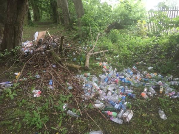 Fly tipping of literally thousands of plastic bottles and waste .-Gorstage Ln, Weaverham, Northwich CW8, UK