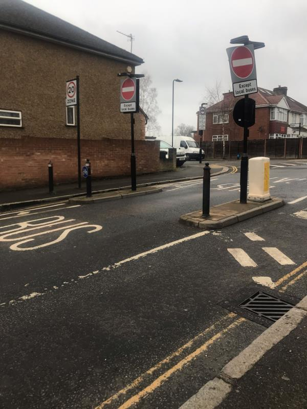 No entry sign is facing the wrong way and needs to have its orientation adjusted on Belvue Road junction Fort Road ub5 -52a Belvue Road, Northolt, UB5 5HJ