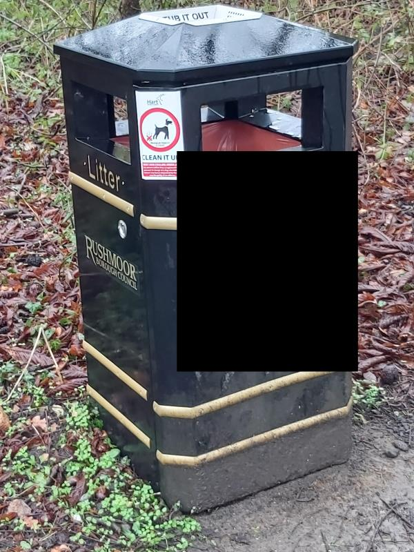 Graffiti on RBC litter bin. See picture. Corner of Hawley Lane and Fernhill Lane. Reported previously.-24 Orchard Cl, Blackwater, Farnborough, Camberley GU17 9EX, UK