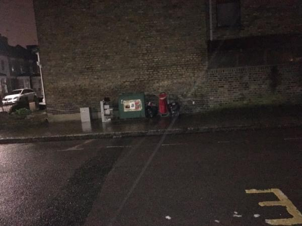 Dumped rubbish on pavement -19 Malvern Road, London, N17 9HH