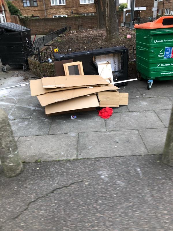 Over flowing bins, fly tipping-17 Station Road, London, E7 0ER