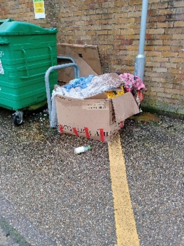 fly tipping by bin store 71-79 Coronation square, fly tipping (cupboard) by garages 71-79 Coronation square-71 Coronation Square, Reading RG30 3QP, UK
