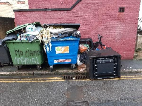 please remove these bins and side waste from elms ave-229-231 Terminus Rd, Eastbourne BN21 3DH, UK