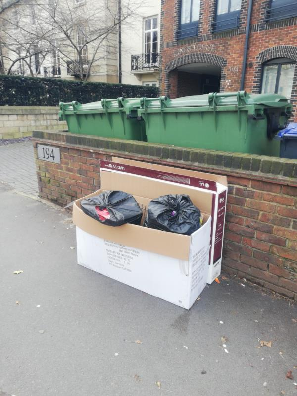 Dumped rubbish and TV boxes. -190 King's Road, Reading, RG1 4DG