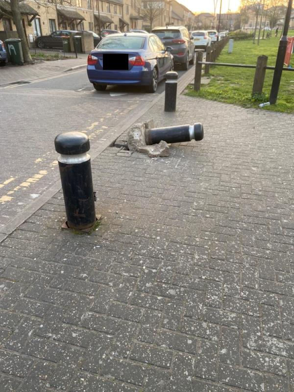 Bollard on Hannameel Street by walkway to Britannia Village School hit by vehicle and knocked over-21 Hanameel Street, London, E16 2AR