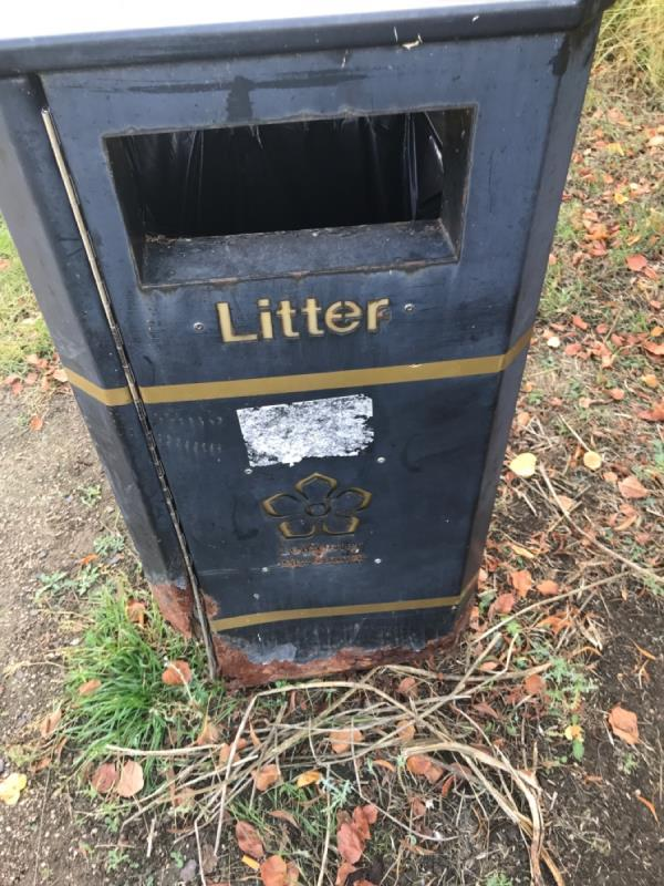 Footpath next to Thurnby lodge school bin nr daykyn Rd entrance rusty and broken -72 Thurncourt Road, Leicester, LE5 2NN