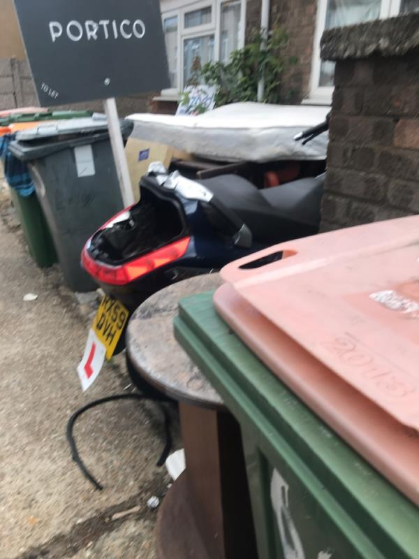 Big mess outside 54 & 56 for months. Now more being added. Sofa, table , bike and more crap. Bins also stink and it's hard to pass as a pedestrian -54 Tower Hamlets Road, London, E7 9BZ
