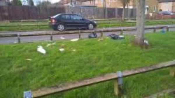 Grass area to Capstone Road. Please clear bags from grass area-138 Moorside Road, Bromley, BR1 5ER