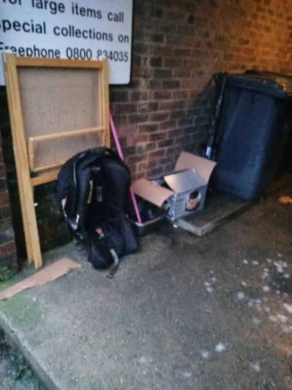 fly tipping rear communal area by bins 26 Granville road-68 Honey End Ln, Reading RG30 4EQ, UK