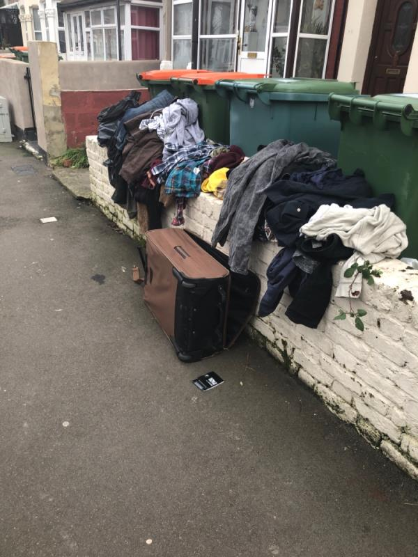 Fly tipping of clothes -43 First Avenue, London, E12 6AW