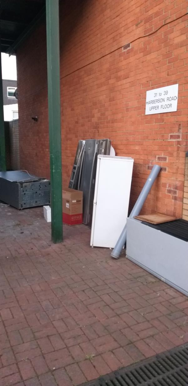 4 fridge freezer are dumped need to be removed we  at 19 Harberson road are cleaning the dust bin area as wedo not see care taker -21 Dirleton Road, London, E15 3PH