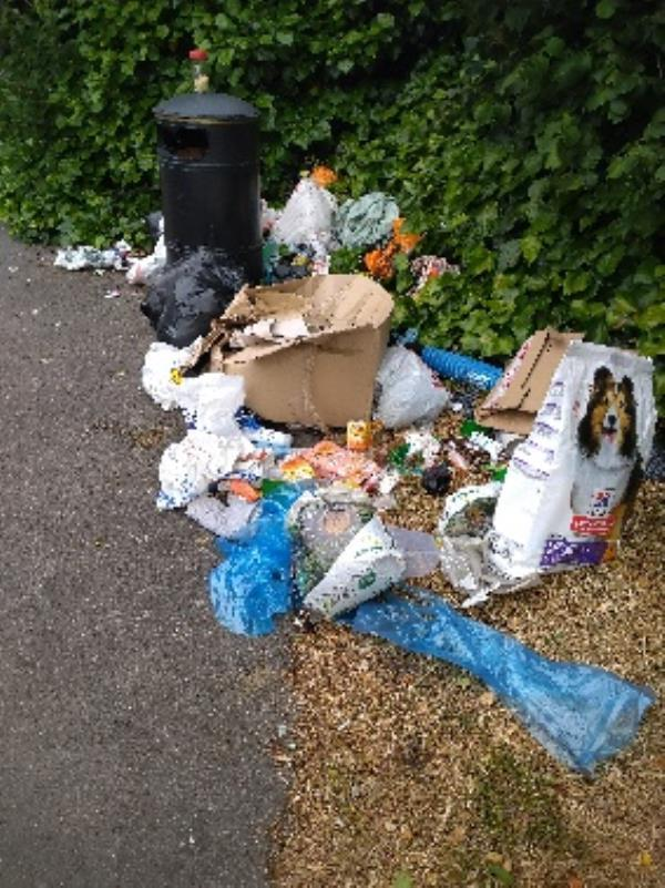 Fly tipped household waste at the end of wolseley Street near the idr. -2 Talbot Court, Reading, RG1 6QH
