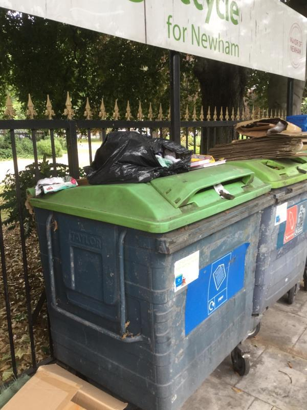 Recycling bins outside park. Cardboard fly tip as well as other items  image 2-284 Plashet Grove, London, E6 1DQ