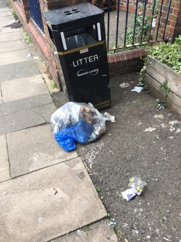 left rubbish by a bin-Railway Arches 381 To 383 Strode Road, London, E7 0DU
