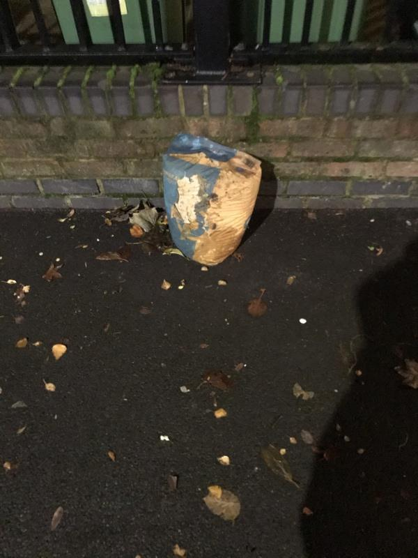 Old bag of cement dumped -7 Marcus Street, London, E15 3JT