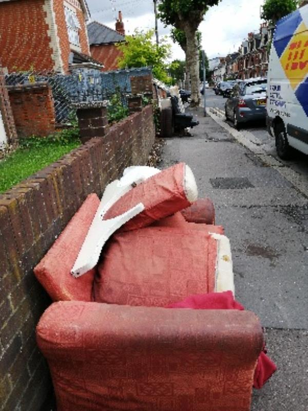 mattress, bed base, old TV, sofa, chair and other bits of furniture. Dumped in 2 lots-5 Wantage Road, Reading, RG30 2SH