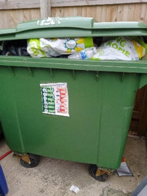 contaminated recycling Bin store 1 Bevan Close-21 Conwy Close, Reading, RG30 4HS
