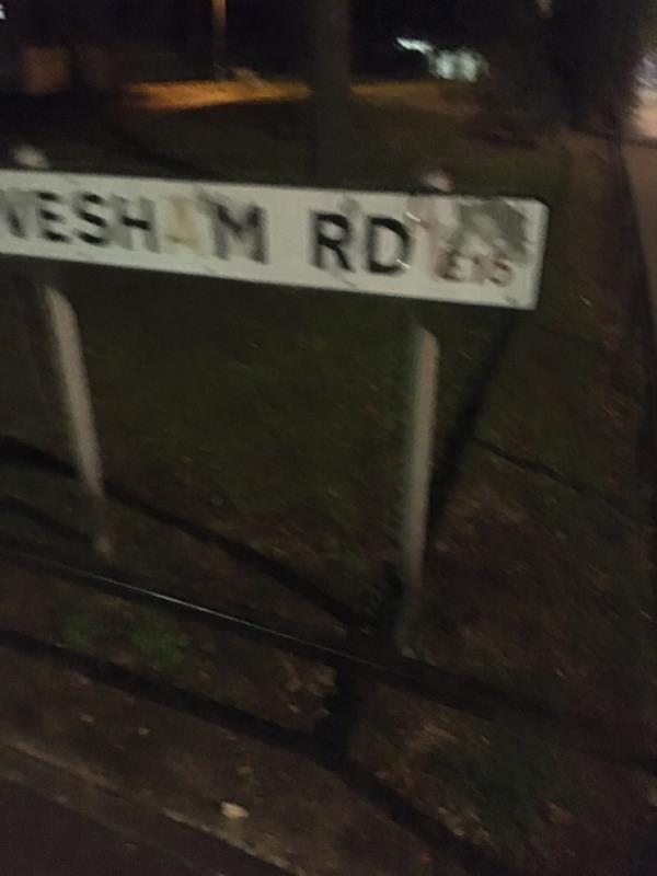 Street name needs replacing, can this be repainted -85a Evesham Road, London, E15 4AL